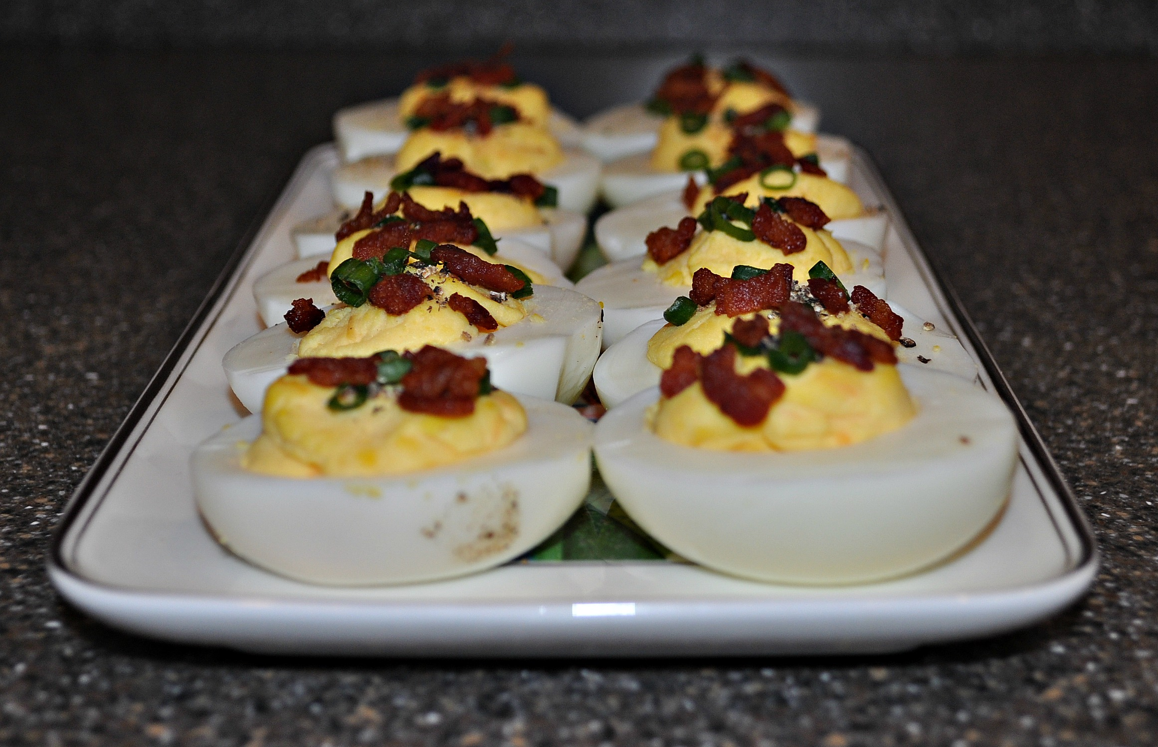 Bacon Cheddar Deviled Eggs from D'Lish Deviled Eggs by Kathy Casey